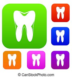 komplet, ludzki, zbiór, ząb