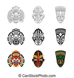 komplet, maska, afrykanin, ikony