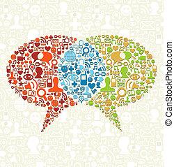 komplet, media, towarzyski, bańki, rozmowa, ikona