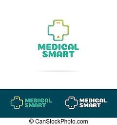 komplet, medyczny, krzyż, telefon, logo, składając, mądry