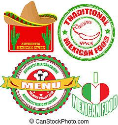 komplet, meksykańskie jadło, etykiety, tłoczyć, autentyczny