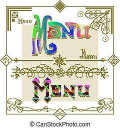 komplet, menu