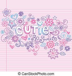 komplet, miłość, sketchy, serca, doodles, ty
