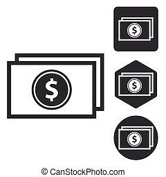 komplet, monochromia, dolar, banknot, ikona