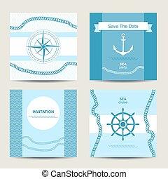 komplet, morski, cztery, szablon, zaproszenie, karta