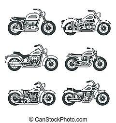 komplet, motocykl, ikony