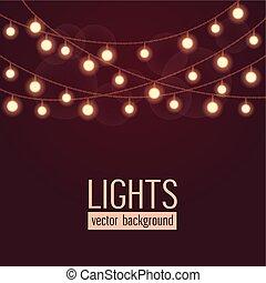 komplet, naniżcie światła, ilustracja, ciemny, tło., jarzący się, wektor, czerwony