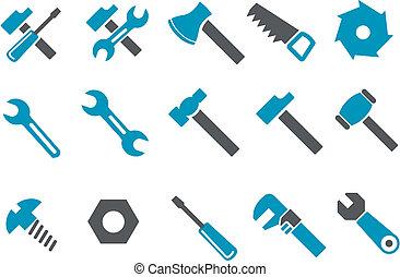 komplet, narzędzia, ikona