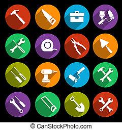 komplet, narzędzia, ikony