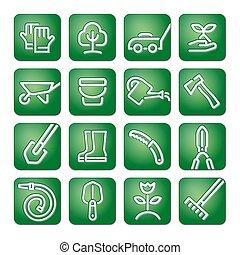 komplet, narzędzia, ogród, ikona