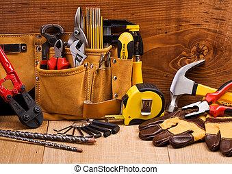 komplet, narzędzia, pracujący