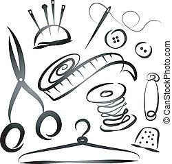 komplet, narzędzia, szycie