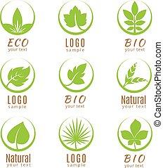 komplet, natura, liście, etykiety, odizolowany, tło., ekologia, zielony, logo, biały, albo