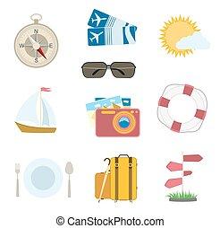 komplet, nawigacja, ikony, słońce, podróż, bilety, wektor, busola, white., aparat fotograficzny, samolot, chmura, łódka