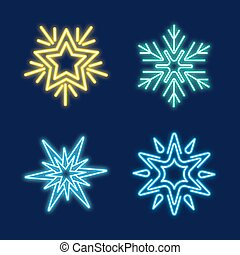 komplet, neon, płatki śniegu
