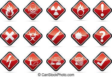 komplet, niebezpieczeństwo znaczą, ostrzeżenie, róg, okrągły