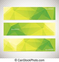 komplet, nowoczesny, żółty, polygonal, wektor, zielony,...