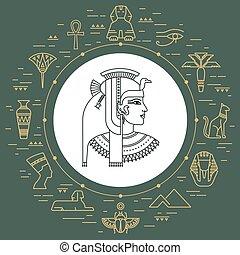 komplet, obiekty, egipt, odizolowany, symbolika, wektor