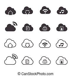 komplet, obliczanie, chmura, ikony