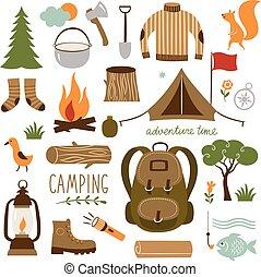 komplet, obozowanie, hiking, ikony