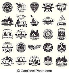 komplet, obozowanie, klub, kajak, kajak, odznaka