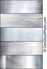 komplet, oczyszczony szczotką, srebro, metal.