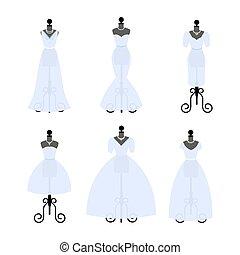 komplet, od, ślub, dresses., fason, suknie, na, mannequins., biały równa, w, różny, styles., vector.