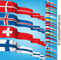 komplet, od, świat, bandery