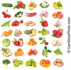 komplet, od, świeża zielenina, i, owoce