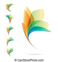 komplet, od, abstrakcyjny, elementy, logos, od