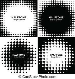 komplet, od, abstrakcyjny, halftone, tła