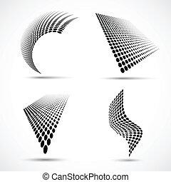 komplet, od, abstrakcyjny, halftone, zaprojektujcie elementy