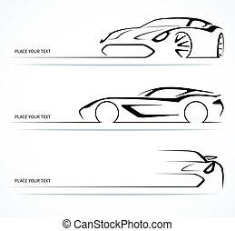 komplet, od, abstrakcyjny, linearny, wóz, silhouettes.