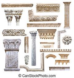 komplet, od, architektura, szczegóły