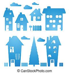komplet, od, błękitny, domy