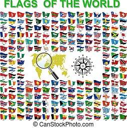 komplet, od, bandery, od, świat, monarcha, states., wektor, ilustracja