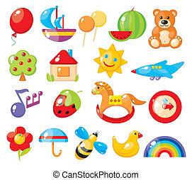 komplet, od, barwny, dzieci, obrazy, dla, przedszkole