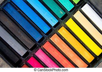 komplet, od, barwny, kreda pałka, na, czarnoskóry, taca