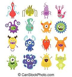 komplet, od, barwny, zabawny, bacteria