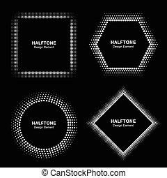 komplet, od, biały, abstrakcyjny, halftone, koła