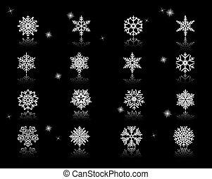 komplet, od, biały, płatki śniegu, ikony