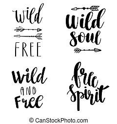 komplet, od, boho, styl, tytuł, cytuje, i, ręka, pociągnięty, elements., dziki, i, wolny, wolny duch, dziki, dusza, phrases., wektor, illustration.