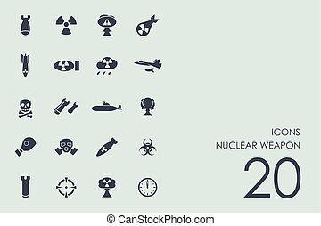 komplet, od, broń jądrowa, ikony