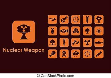 komplet, od, broń jądrowa, naturalne ikony