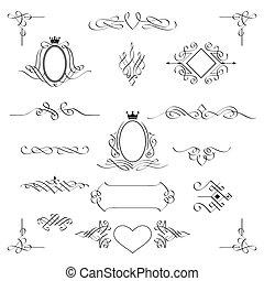komplet, od, calligraphic, projektować, elements., vector.