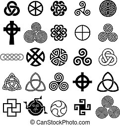 komplet, od, celtycki, symbolika, ikony, vector.