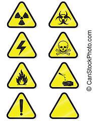 komplet, od, chemiczny, ostrzeżenie, signs.