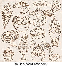 komplet, od, ciasto, słodycze, i, desery, -, ręka, pociągnięty, w, wektor