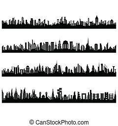 komplet, od, cityscape