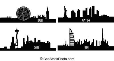 komplet, od, cityscapes
